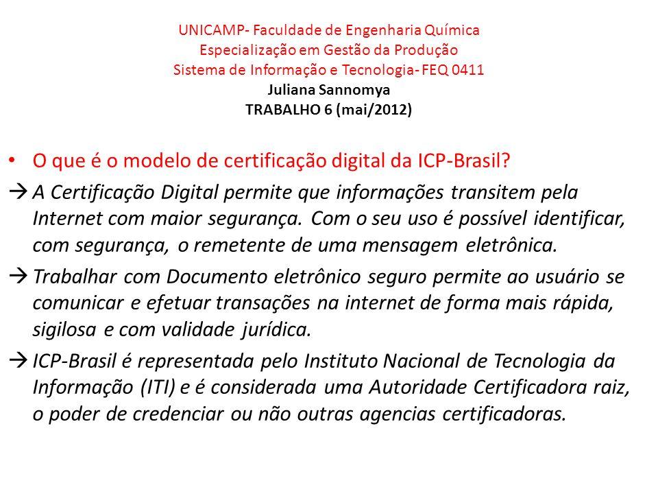 UNICAMP- Faculdade de Engenharia Química Especialização em Gestão da Produção Sistema de Informação e Tecnologia- FEQ 0411 Juliana Sannomya TRABALHO 6