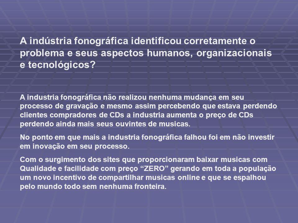 A indústria fonográfica identificou corretamente o problema e seus aspectos humanos, organizacionais e tecnológicos.