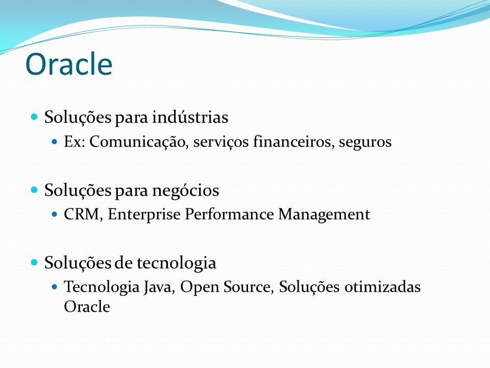 Oracle Soluções para indústrias Ex: Comunicação, serviços financeiros, seguros Soluções para negócios CRM, Enterprise Performance Management Soluções