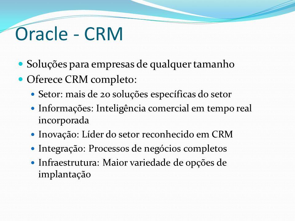 Oracle - CRM Soluções para empresas de qualquer tamanho Oferece CRM completo: Setor: mais de 20 soluções específicas do setor Informações: Inteligênci
