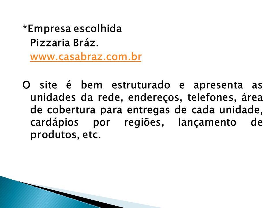 *Empresa escolhida Pizzaria Bráz.