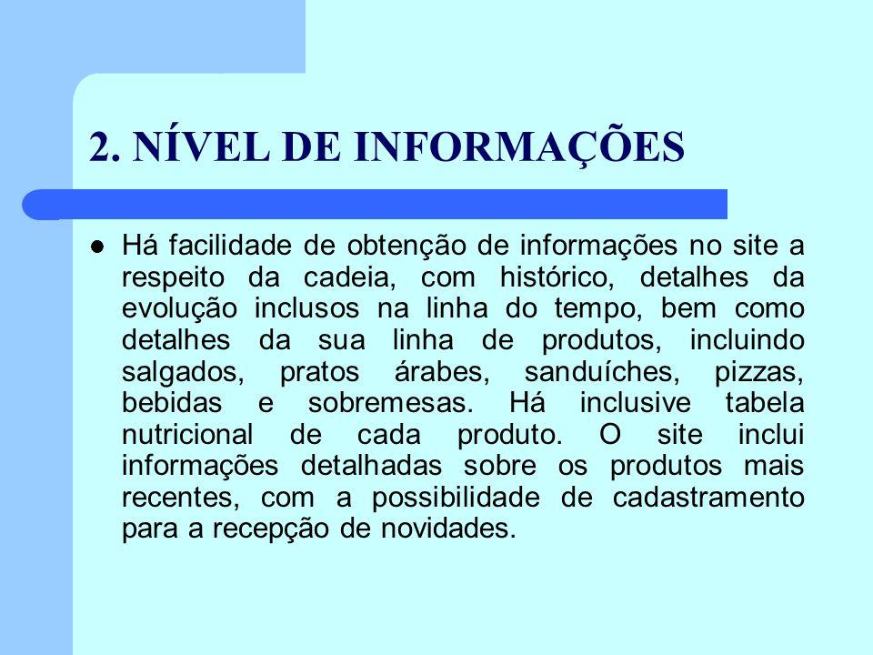 2. NÍVEL DE INFORMAÇÕES Há facilidade de obtenção de informações no site a respeito da cadeia, com histórico, detalhes da evolução inclusos na linha d