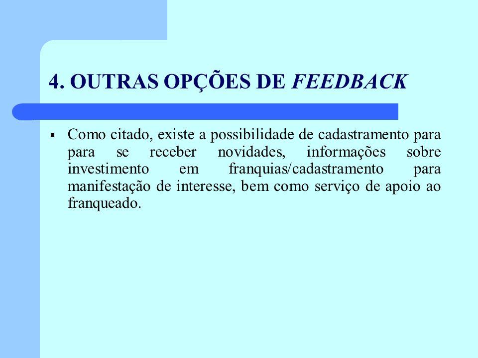 4. OUTRAS OPÇÕES DE FEEDBACK Como citado, existe a possibilidade de cadastramento para para se receber novidades, informações sobre investimento em fr