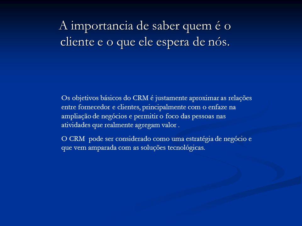 A importancia de saber quem é o cliente e o que ele espera de nós. Os objetivos básicos do CRM é justamente aproximar as relações entre fornecedor e c