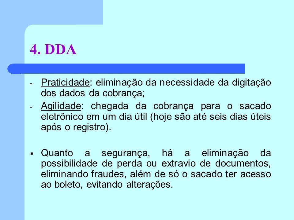 4. DDA - Praticidade: eliminação da necessidade da digitação dos dados da cobrança; - Agilidade: chegada da cobrança para o sacado eletrônico em um di