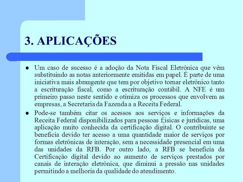 3. APLICAÇÕES Um caso de sucesso é a adoção da Nota Fiscal Eletrônica que vêm substituindo as notas anteriormente emitidas em papel. É parte de uma in