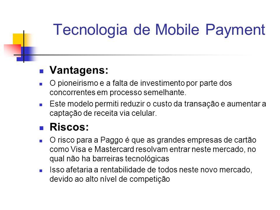Tecnologia de Mobile Payment Vantagens: O pioneirismo e a falta de investimento por parte dos concorrentes em processo semelhante. Este modelo permiti