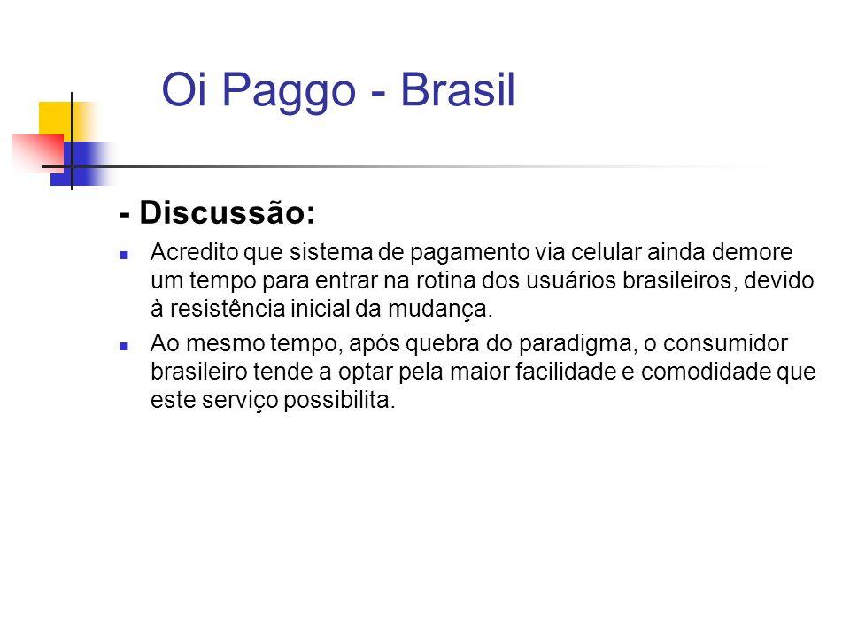 Oi Paggo - Brasil - Discussão: Acredito que sistema de pagamento via celular ainda demore um tempo para entrar na rotina dos usuários brasileiros, dev