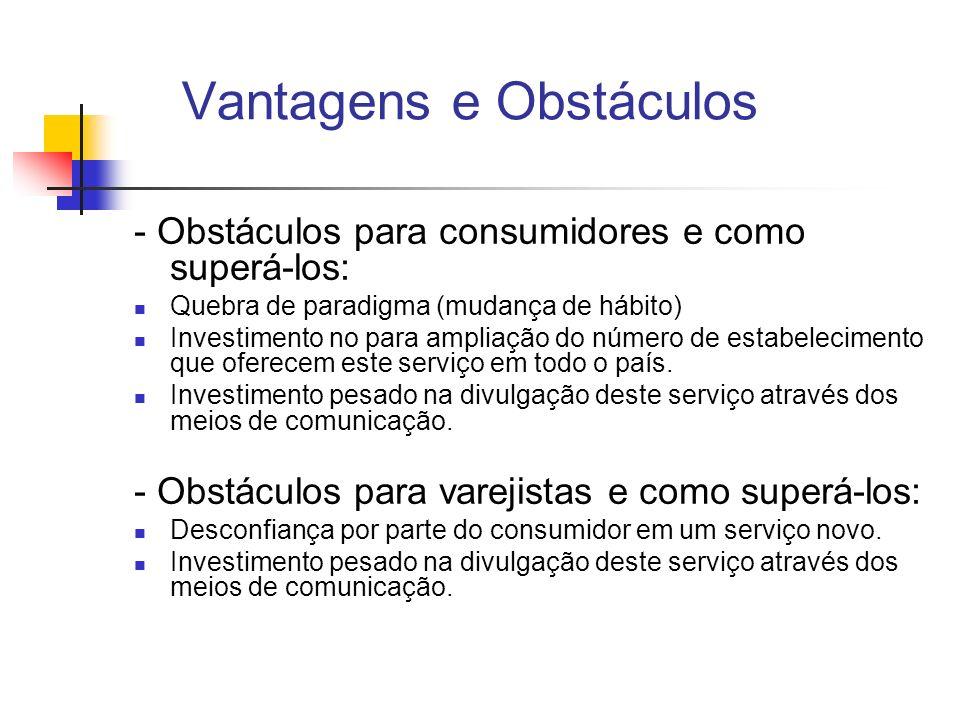 Vantagens e Obstáculos - Obstáculos para consumidores e como superá-los: Quebra de paradigma (mudança de hábito) Investimento no para ampliação do núm