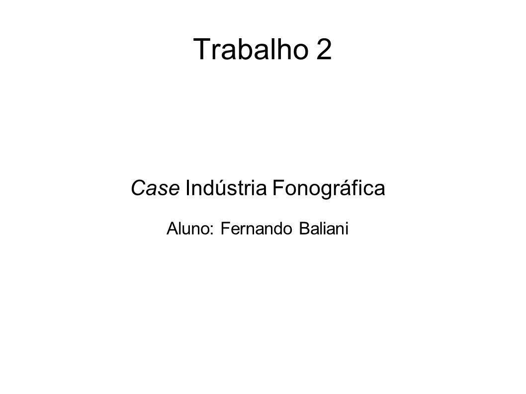 Trabalho 2 Case Indústria Fonográfica Aluno: Fernando Baliani