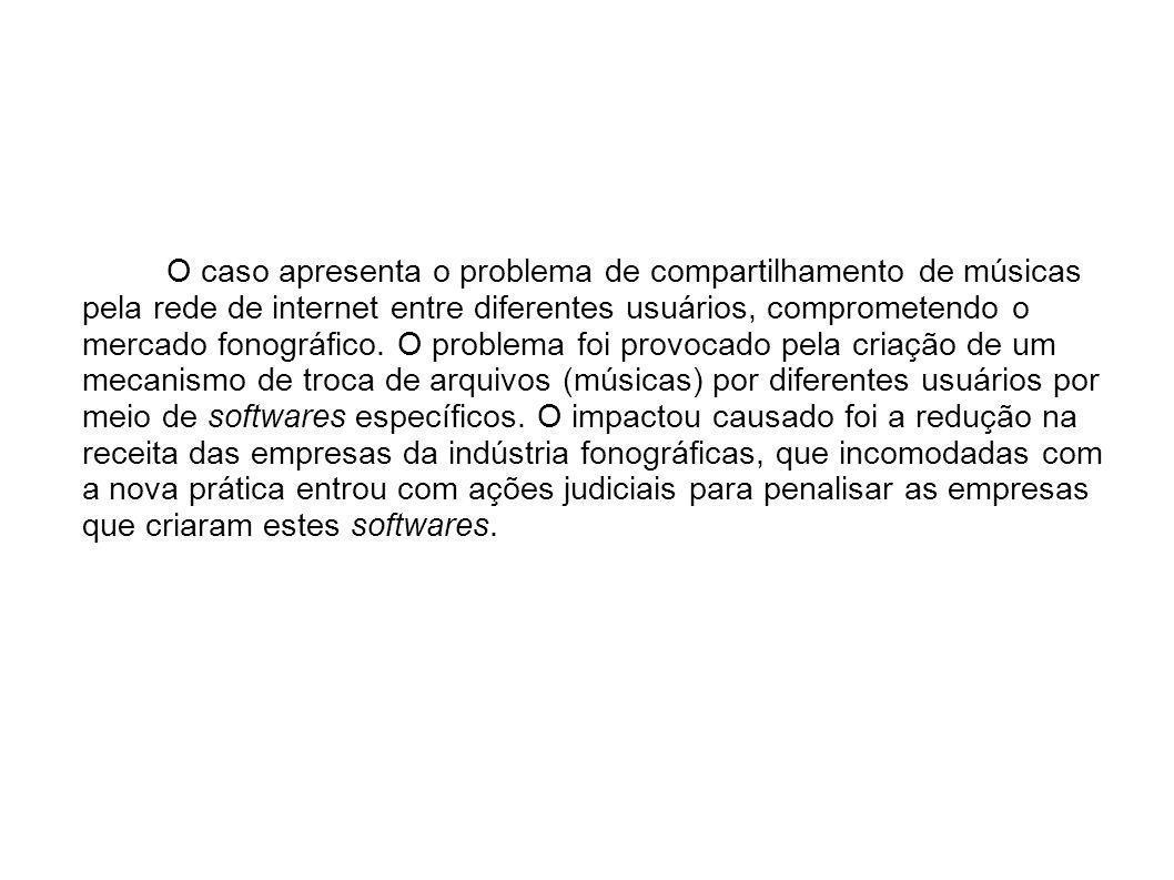 O caso apresenta o problema de compartilhamento de músicas pela rede de internet entre diferentes usuários, comprometendo o mercado fonográfico.