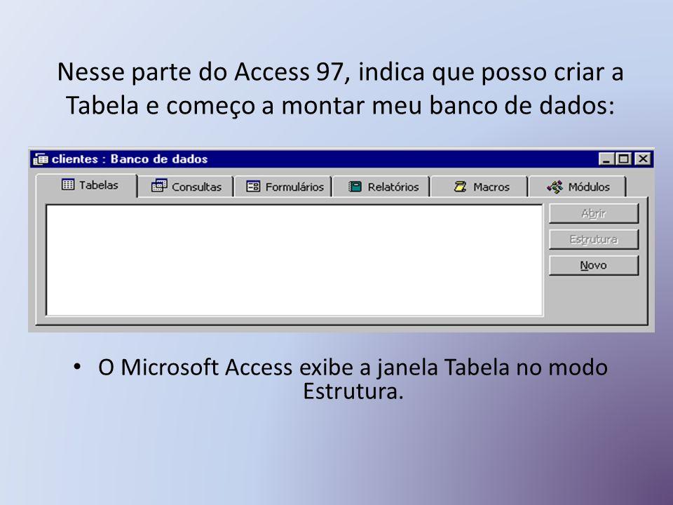 Nesse parte do Access 97, indica que posso criar a Tabela e começo a montar meu banco de dados: O Microsoft Access exibe a janela Tabela no modo Estrutura.