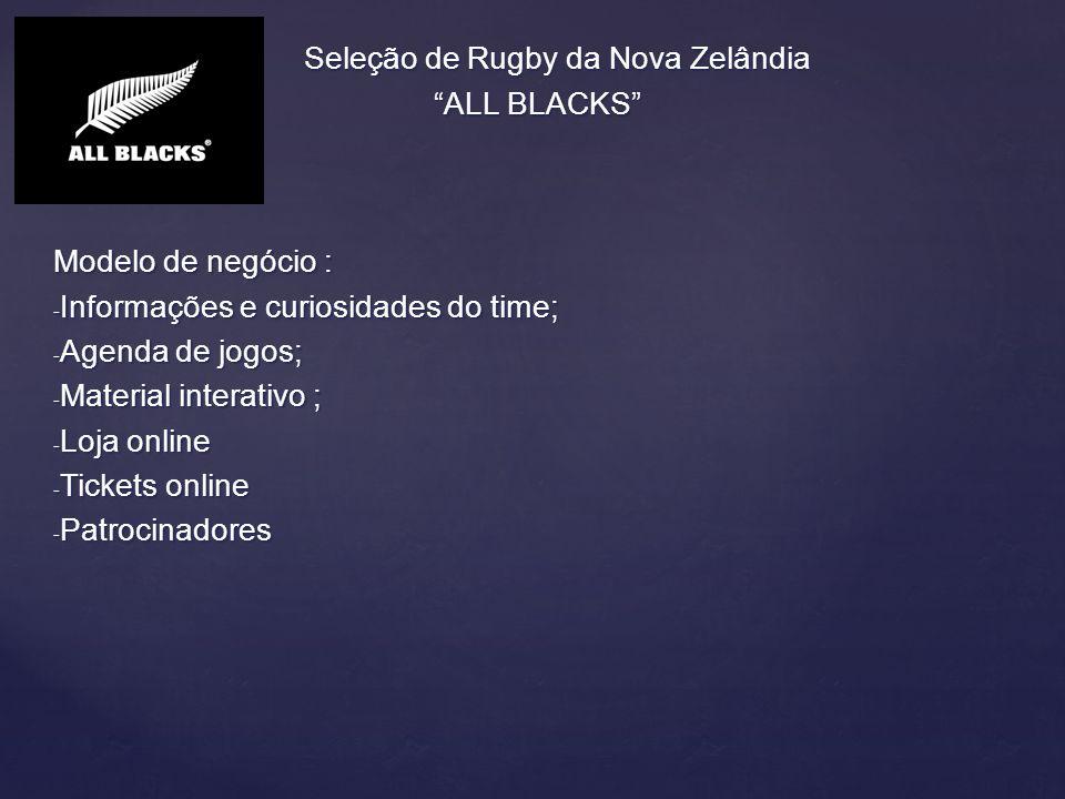 Seleção de Rugby da Nova Zelândia ALL BLACKS ALL BLACKS Excelência Operacional: o site é de fácil acesso e com informações de rápida visualização; Excelência Operacional: o site é de fácil acesso e com informações de rápida visualização; Novos serviços/modelo de negócio : tem uma parte dentro do site dedicada aos patrocinadores do time; Novos serviços/modelo de negócio : tem uma parte dentro do site dedicada aos patrocinadores do time; Relacionamento direto com consumidores/torcedores através de canais de comunicação e midias sociais e um canal de TV online; Relacionamento direto com consumidores/torcedores através de canais de comunicação e midias sociais e um canal de TV online; Melhor tomada de decisão : união das informações sem grande poluição na pagina principal Melhor tomada de decisão : união das informações sem grande poluição na pagina principal Vantagem competitiva: link com todos acessos, midias sociais, loja e patrocinadores na mesma pagina principal Vantagem competitiva: link com todos acessos, midias sociais, loja e patrocinadores na mesma pagina principal Sobrevivência : esporte mais popular do país e com franco crescimento no mundo todo.