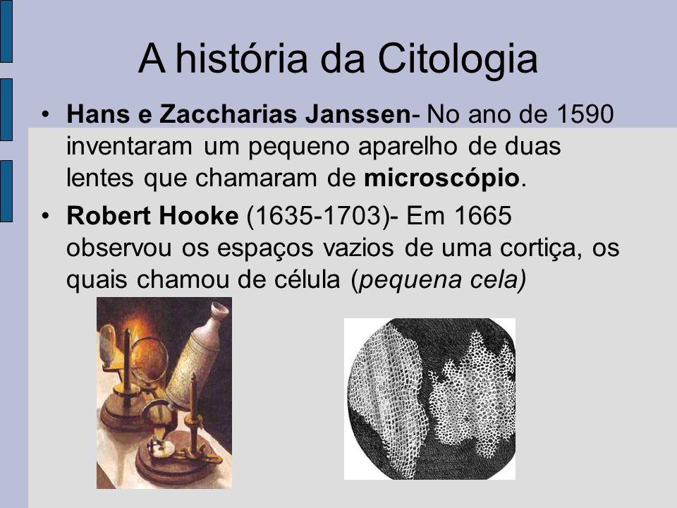 A história da Citologia Hans e Zaccharias Janssen- No ano de 1590 inventaram um pequeno aparelho de duas lentes que chamaram de microscópio.