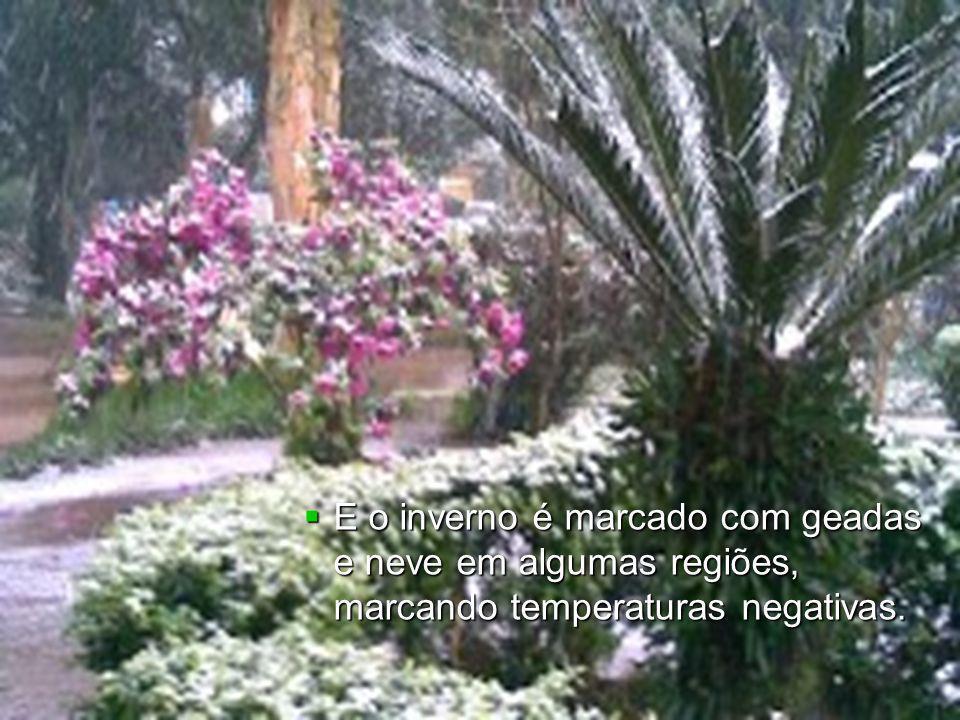 E o inverno é marcado com geadas e neve em algumas regiões, marcando temperaturas negativas. E o inverno é marcado com geadas e neve em algumas regiõe