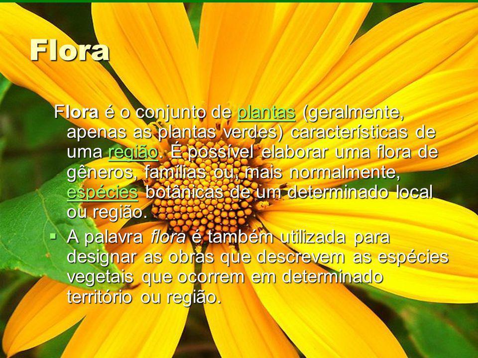 Flora Flora é o conjunto de plantas (geralmente, apenas as plantas verdes) características de uma região. É possível elaborar uma flora de gêneros, fa