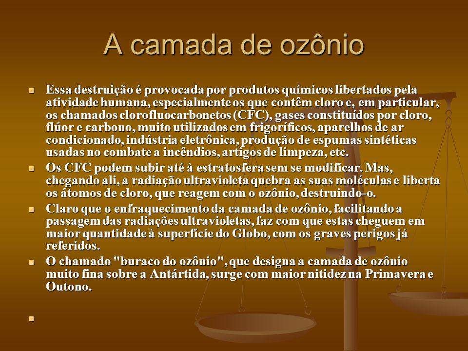 A camada de ozônio Essa destruição é provocada por produtos químicos libertados pela atividade humana, especialmente os que contêm cloro e, em particu