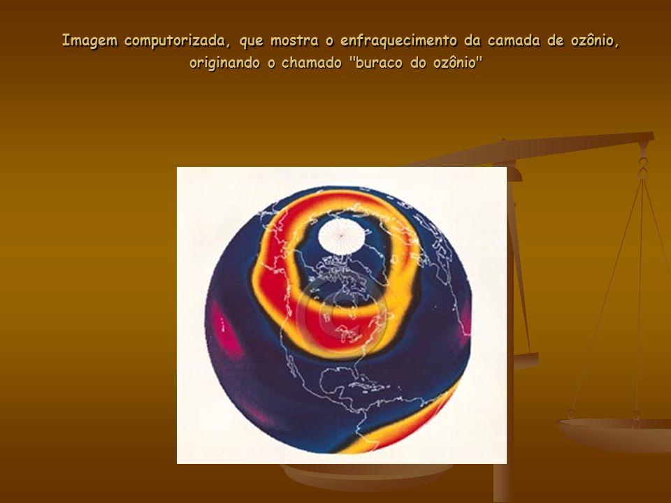 Imagem computorizada, que mostra o enfraquecimento da camada de ozônio, originando o chamado