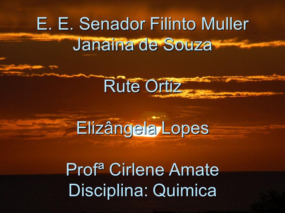 E. E. Senador Filinto Muller Janaina de Souza Rute Ortiz Elizângela Lopes Profª Cirlene Amate Disciplina: Quimica