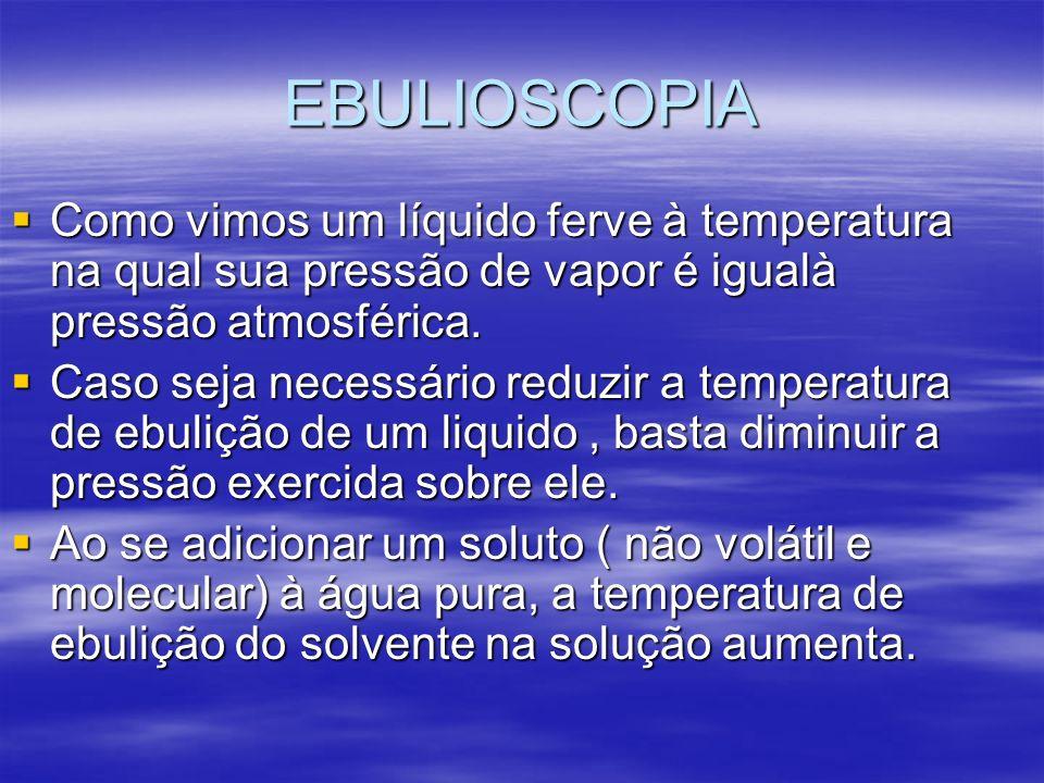 EBULIOSCOPIA Como vimos um líquido ferve à temperatura na qual sua pressão de vapor é igualà pressão atmosférica. Como vimos um líquido ferve à temper