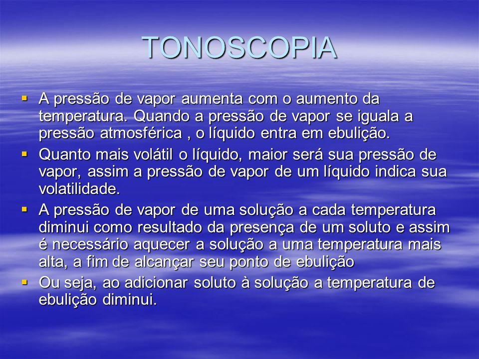 TONOSCOPIA A pressão de vapor aumenta com o aumento da temperatura. Quando a pressão de vapor se iguala a pressão atmosférica, o líquido entra em ebul
