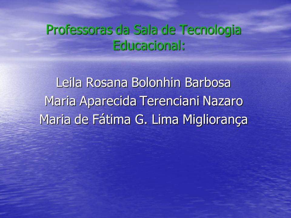 Professoras da Sala de Tecnologia Educacional: Leila Rosana Bolonhin Barbosa Maria Aparecida Terenciani Nazaro Maria de Fátima G. Lima Migliorança