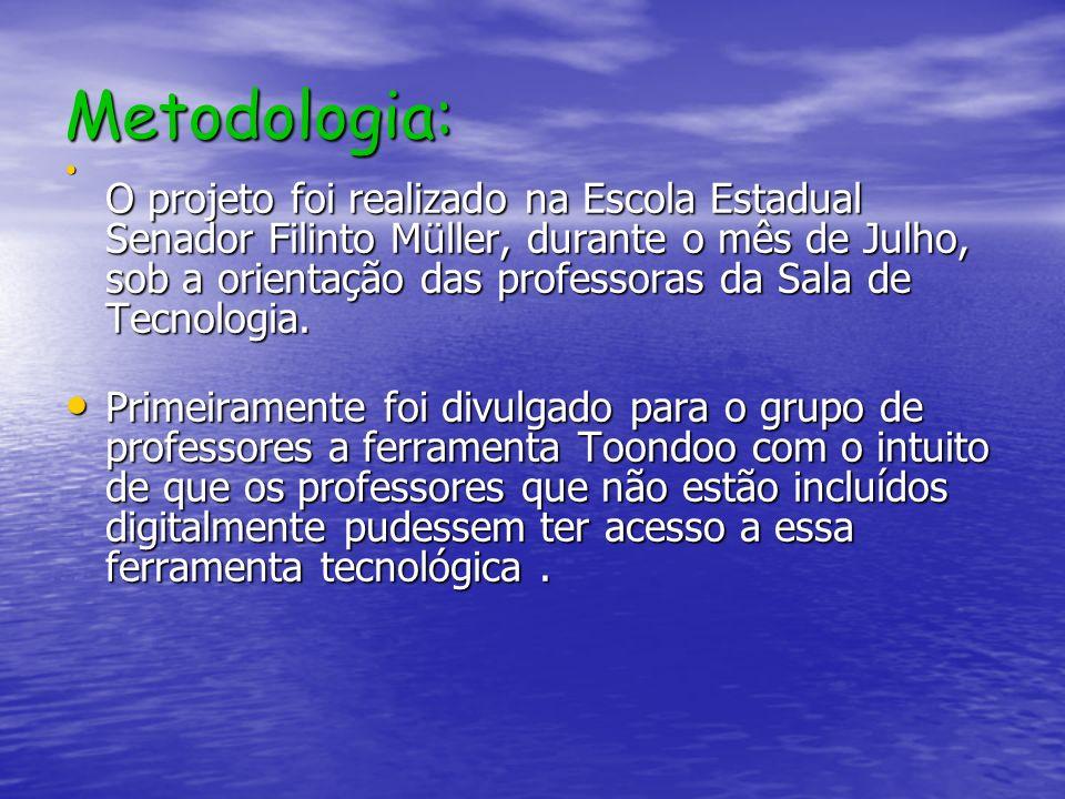 Metodologia: O projeto foi realizado na Escola Estadual Senador Filinto Müller, durante o mês de Julho, sob a orientação das professoras da Sala de Te