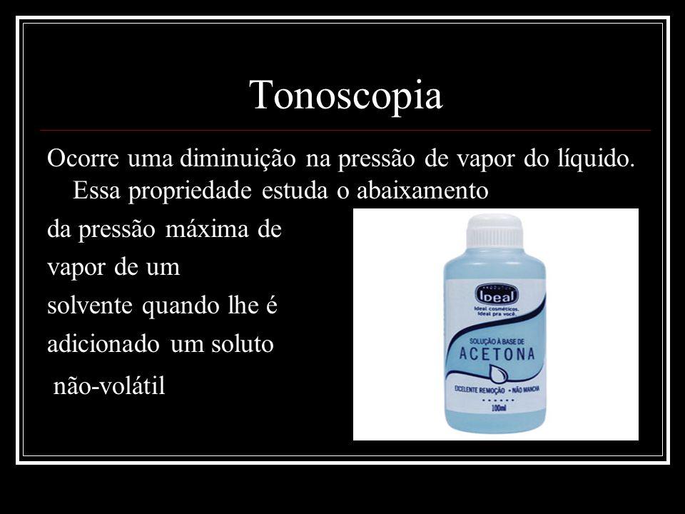 Tonoscopia Ocorre uma diminuição na pressão de vapor do líquido. Essa propriedade estuda o abaixamento da pressão máxima de vapor de um solvente quand