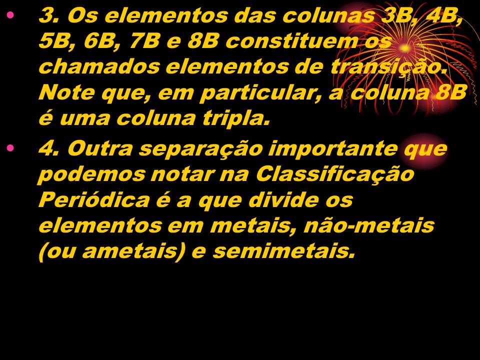 3. Os elementos das colunas 3B, 4B, 5B, 6B, 7B e 8B constituem os chamados elementos de transição. Note que, em particular, a coluna 8B é uma coluna t