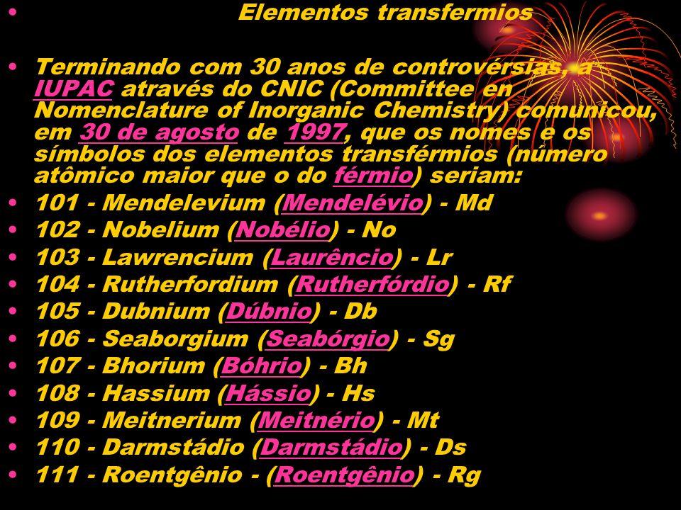 Elementos transfermios Terminando com 30 anos de controvérsias, a IUPAC através do CNIC (Committee en Nomenclature of Inorganic Chemistry) comunicou,