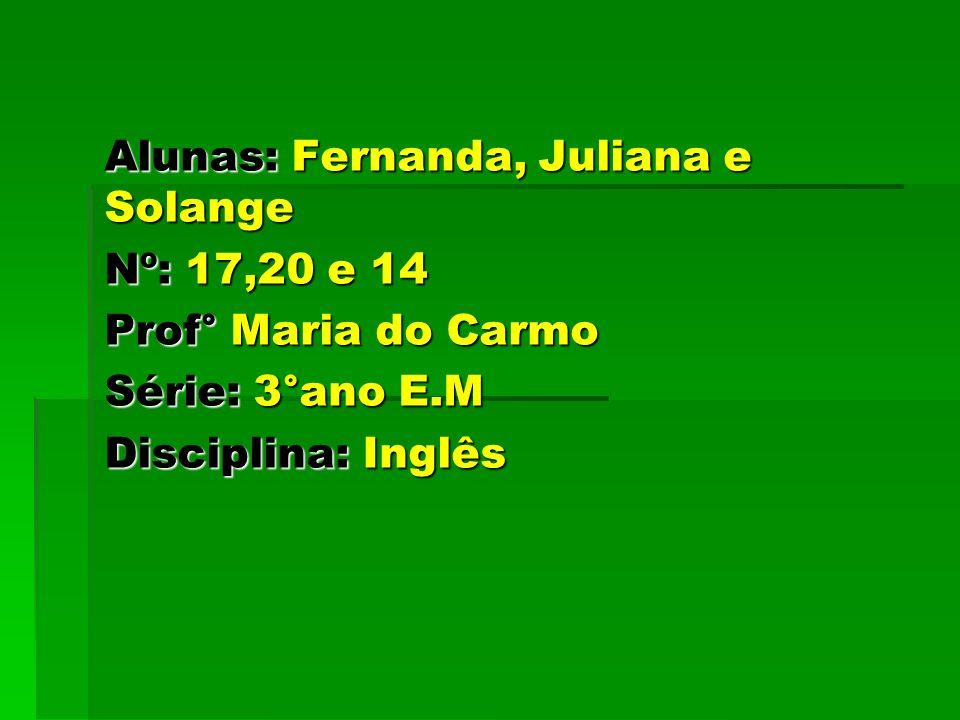 Alunas: Fernanda, Juliana e Solange Nº: 17,20 e 14 Prof° Maria do Carmo Série: 3°ano E.M Disciplina: Inglês