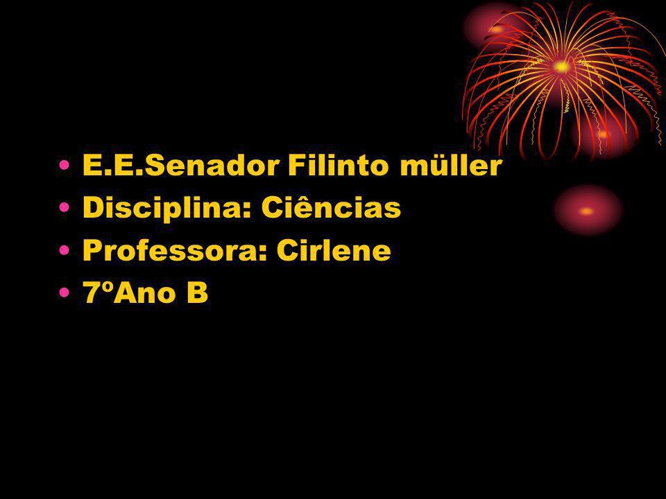 E.E.Senador Filinto müller Disciplina: Ciências Professora: Cirlene 7ºAno B
