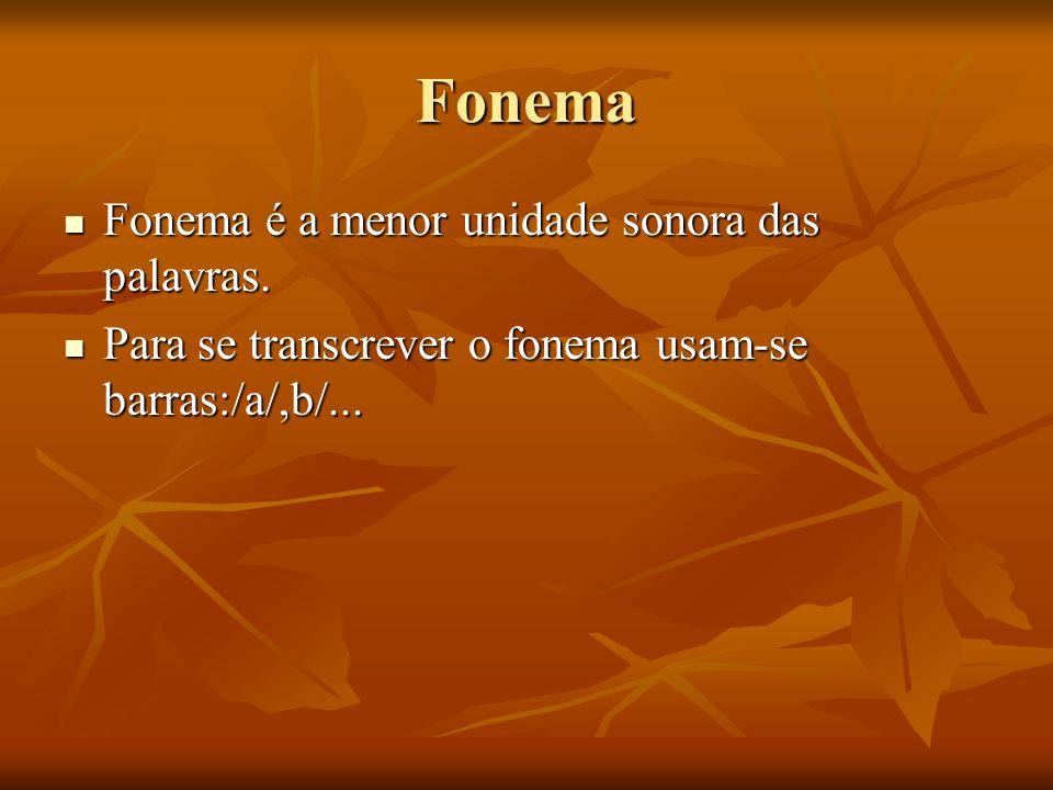 Fonema Fonema é a menor unidade sonora das palavras. Fonema é a menor unidade sonora das palavras. Para se transcrever o fonema usam-se barras:/a/,b/.