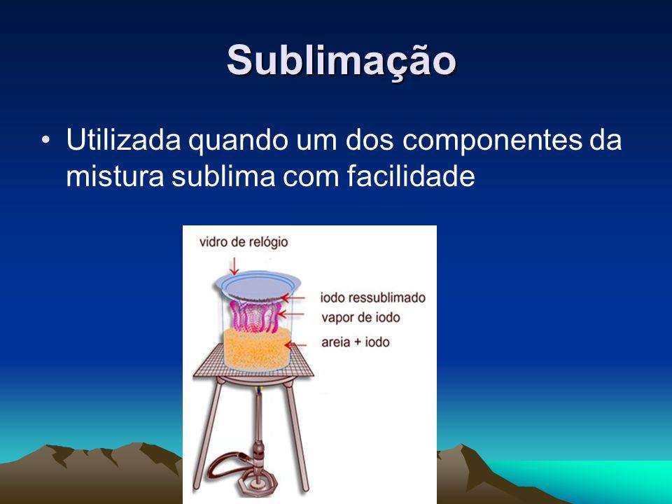 Sublimação Sublimação Utilizada quando um dos componentes da mistura sublima com facilidade