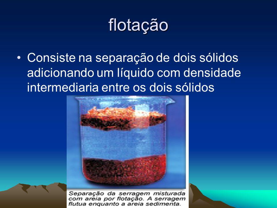 flotação Consiste na separação de dois sólidos adicionando um líquido com densidade intermediaria entre os dois sólidos