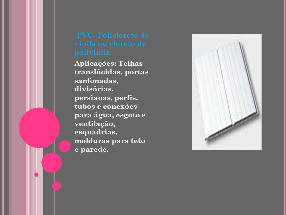 PU – PoliuretanoPoliuretano Aplicações: Esquadrias, chapas, revestimentos, molduras, filmes, estofamento de automóveis, em móveis, isolamento térmico
