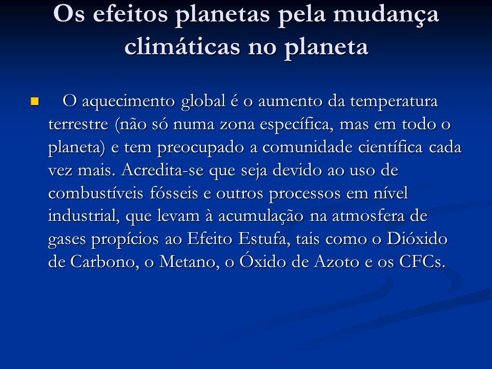 Os efeitos planetas pela mudança climáticas no planeta Os efeitos planetas pela mudança climáticas no planeta O aquecimento global é o aumento da temp