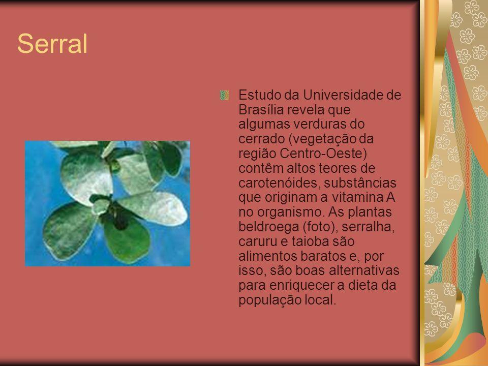 Serral Estudo da Universidade de Brasília revela que algumas verduras do cerrado (vegetação da região Centro-Oeste) contêm altos teores de carotenóide