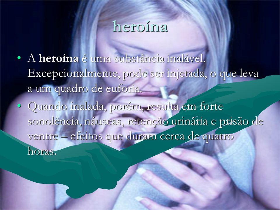 heroína A heroína é uma substância inalável. Excepcionalmente, pode ser injetada, o que leva a um quadro de euforia.A heroína é uma substância inaláve