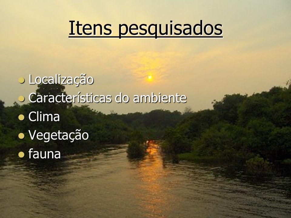 localização A Floresta Amazônica é uma floresta tropical situada na região norte da América do Sul.