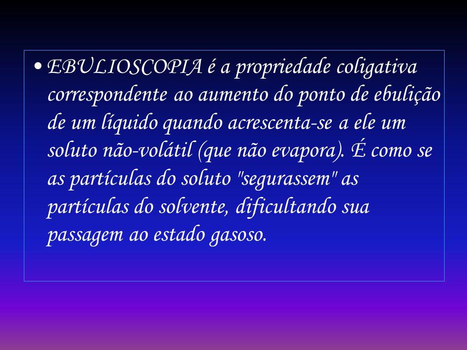 EBULIOSCOPIA é a propriedade coligativa correspondente ao aumento do ponto de ebulição de um líquido quando acrescenta-se a ele um soluto não-volátil