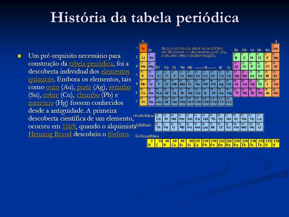 História da tabela periódica Um pré-requisito necessário para construção da tabela periódica, foi a descoberta individual dos elementos químicos. Embo