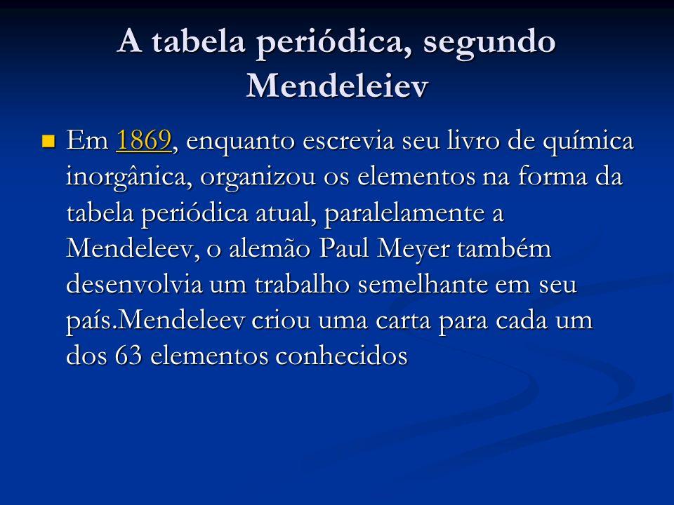 A tabela periódica, segundo Mendeleiev Em 1869, enquanto escrevia seu livro de química inorgânica, organizou os elementos na forma da tabela periódica