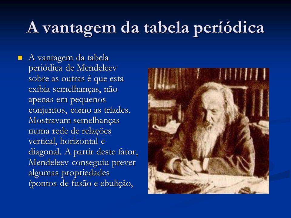 A vantagem da tabela períódica A vantagem da tabela periódica de Mendeleev sobre as outras é que esta exibia semelhanças, não apenas em pequenos conju