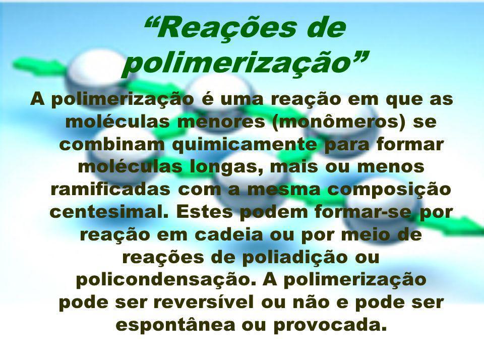 Reações de polimerização A polimerização é uma reação em que as moléculas menores (monômeros) se combinam quimicamente para formar moléculas longas, m