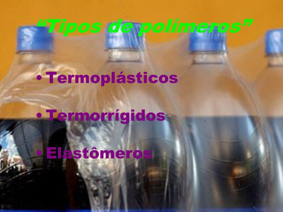 Tipos de polímeros Termoplásticos Termorrígidos Elastômeros