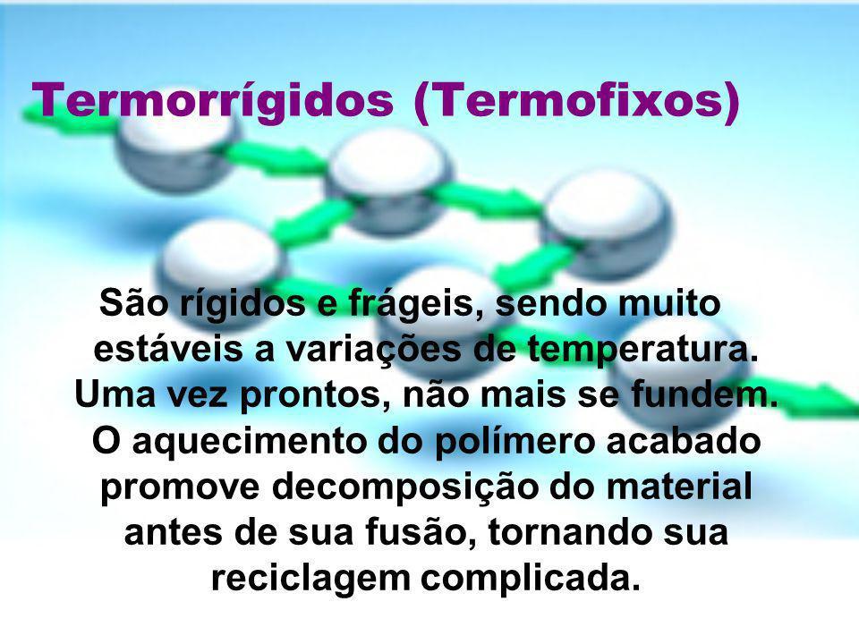 Termorrígidos (Termofixos) São rígidos e frágeis, sendo muito estáveis a variações de temperatura. Uma vez prontos, não mais se fundem. O aquecimento