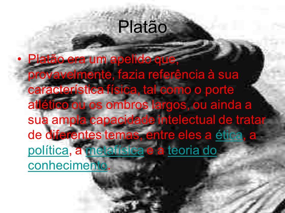 Platão Platão era um apelido que, provavelmente, fazia referência à sua característica física, tal como o porte atlético ou os ombros largos, ou ainda