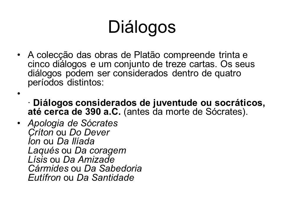 Diálogos A colecção das obras de Platão compreende trinta e cinco diálogos e um conjunto de treze cartas. Os seus diálogos podem ser considerados dent