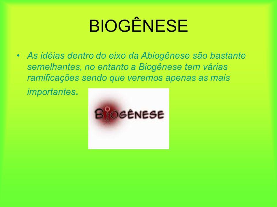 BIOGÊNESE As idéias dentro do eixo da Abiogênese são bastante semelhantes, no entanto a Biogênese tem várias ramificações sendo que veremos apenas as